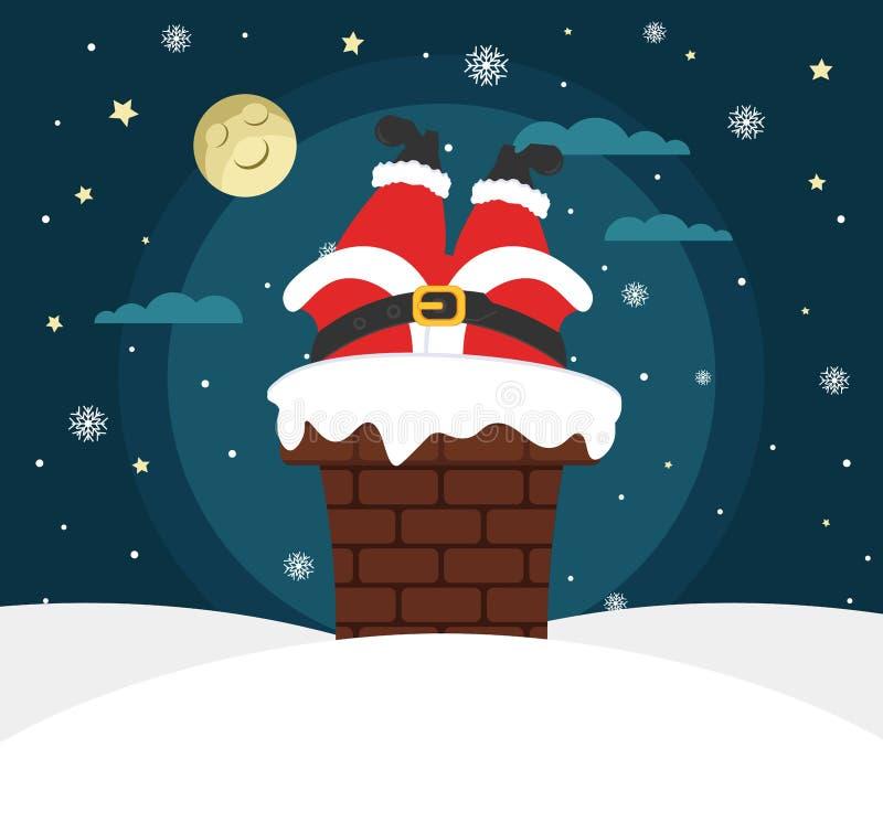 De Kerstman draagt giften Volle maan, sterren en sneeuwval Santa Claus krijgt in de schoorsteen Vector illustratie De kaart van d vector illustratie