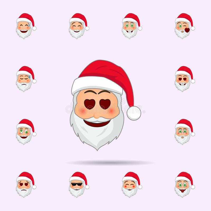 De Kerstman in droefheid in een koud pictogram van zweetemoji Dat voor Web wordt geplaatst en mobiel de pictogrammenalgemeen begr stock illustratie