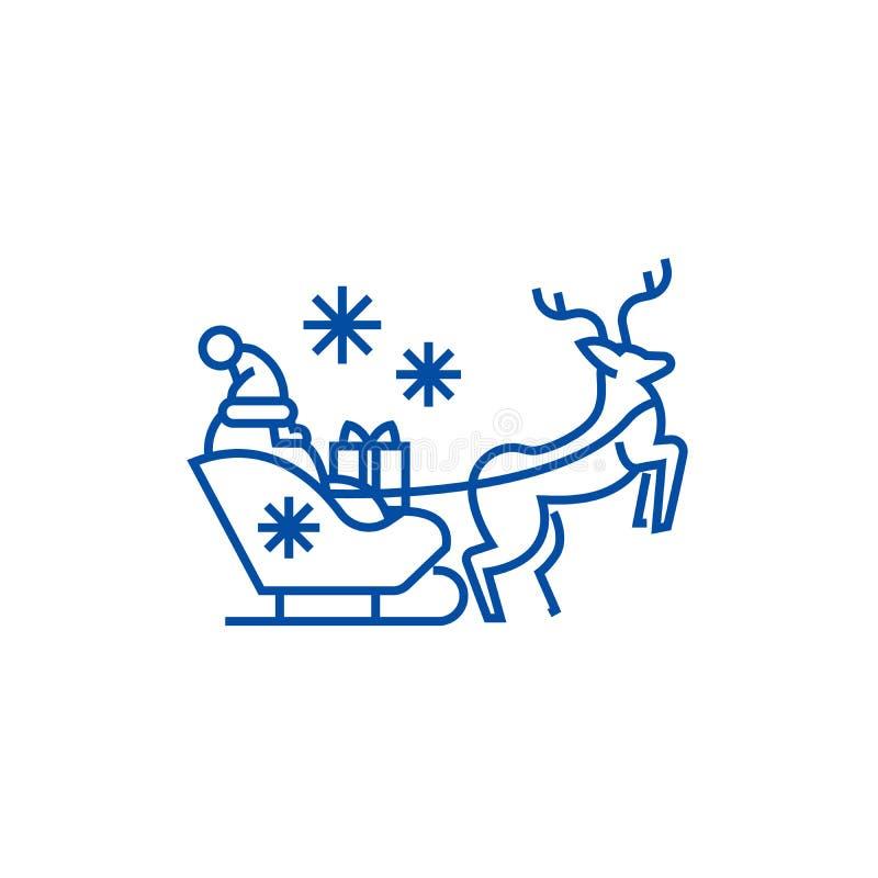 De Kerstman in een ar met een het pictogramconcept van de hertenlijn De Kerstman in een ar met een herten vlak vectorsymbool, tek stock illustratie