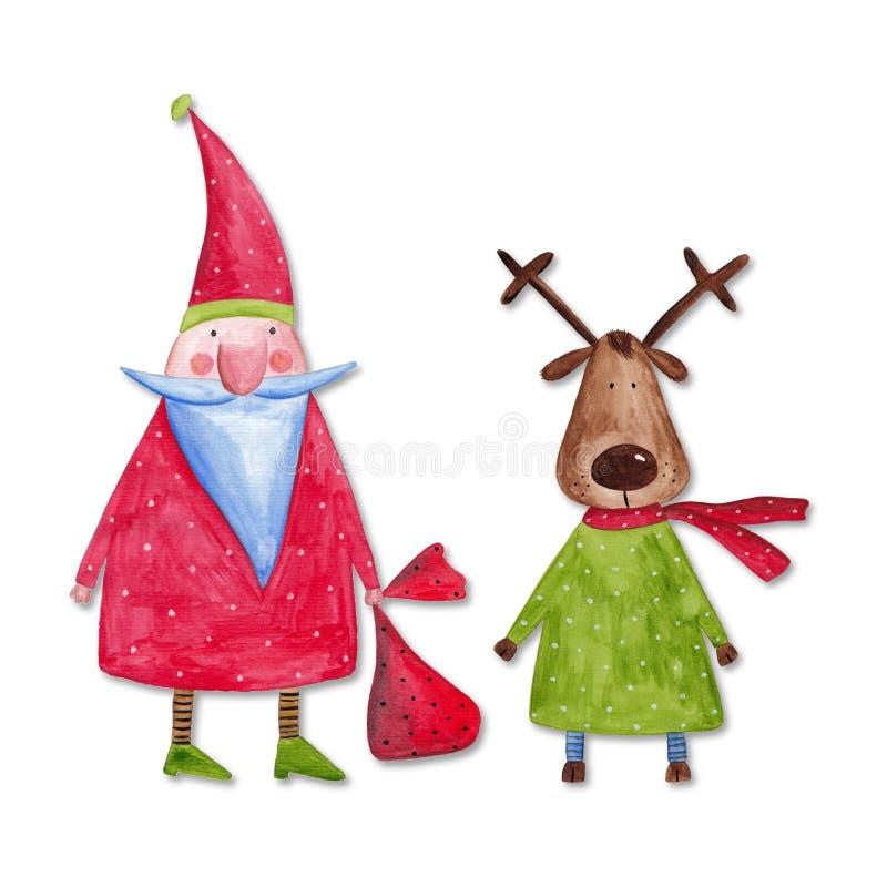De Kerstman en rendier royalty-vrije illustratie