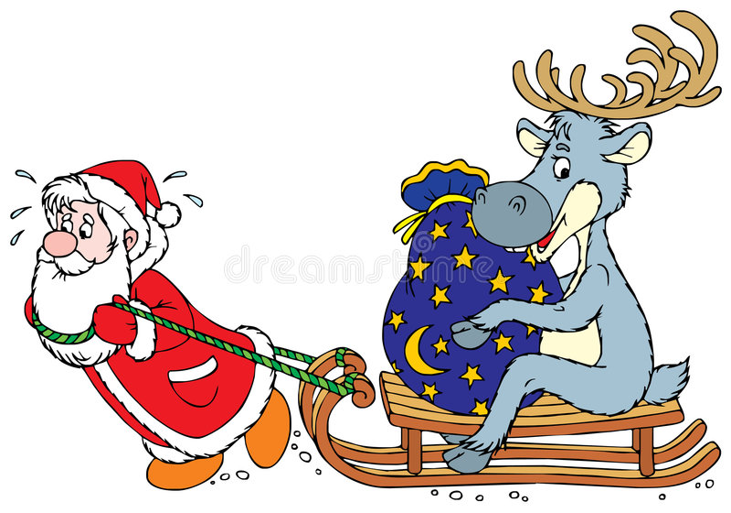 De Kerstman en Rendier vector illustratie