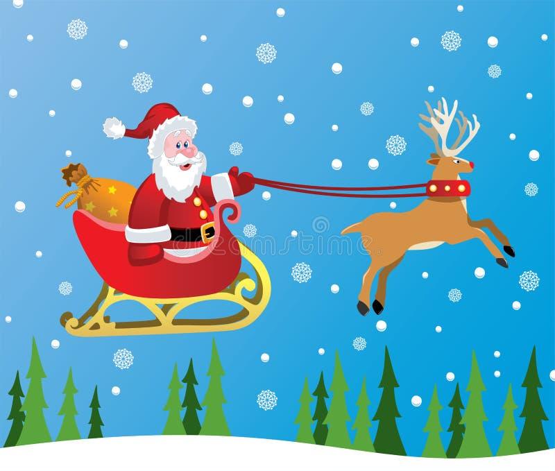 De Kerstman en rood besnuffeld rendier vector illustratie