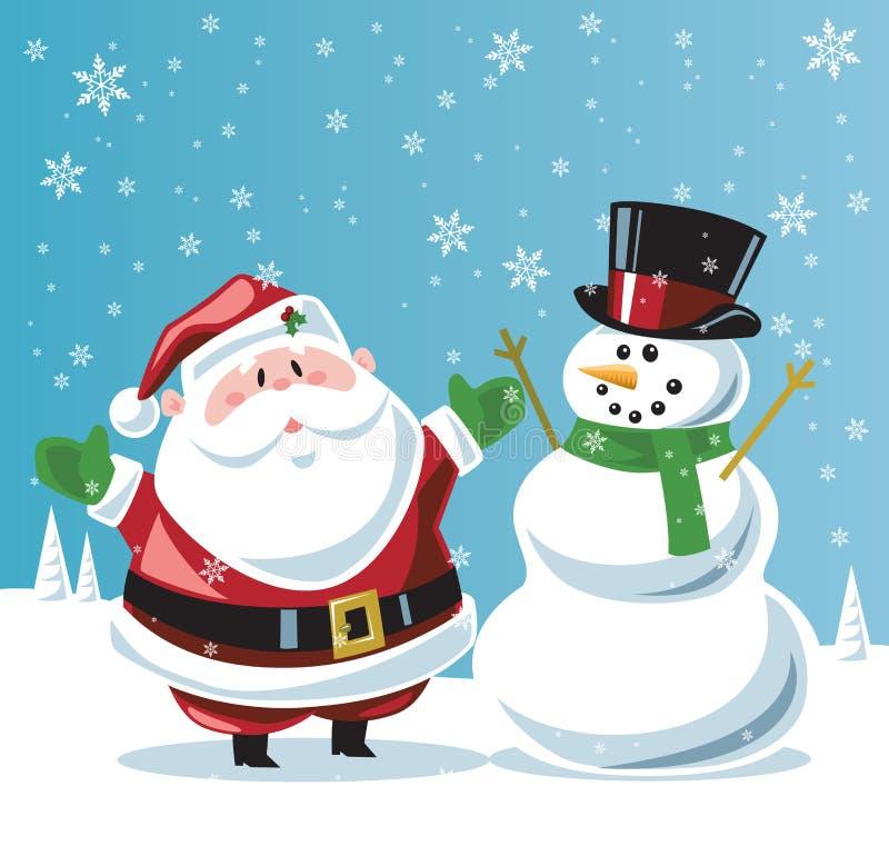 De Kerstman en sneeuwman stock illustratie