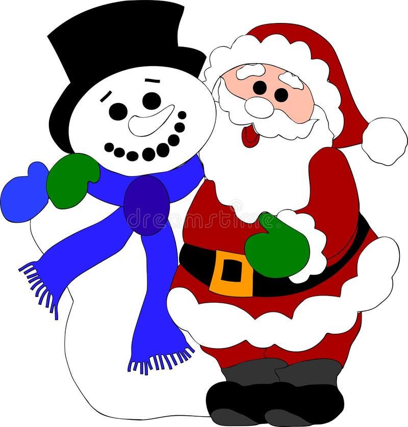 De Kerstman en sneeuwman royalty-vrije illustratie