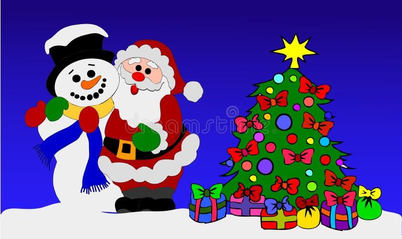 De Kerstman en Sneeuwman met Kerstboom stock illustratie