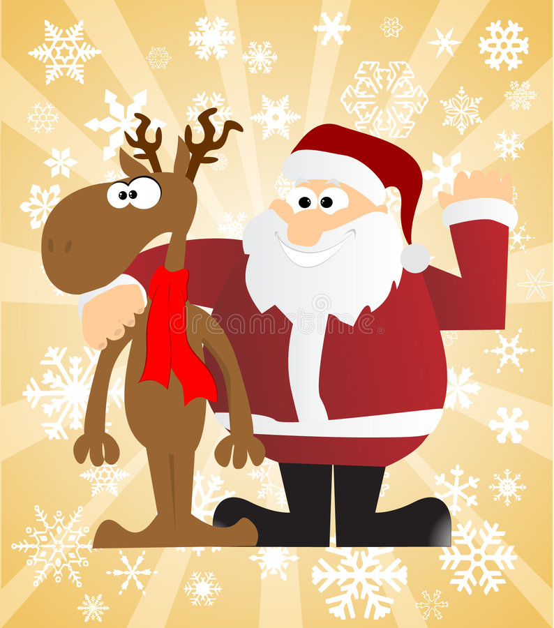 Santa Claus And His Reindeer vector illustratie