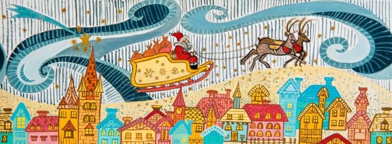 De Kerstman fliyng met rendier. stock foto's