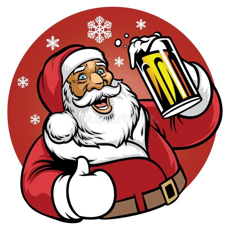 De Kerstman geniet van een glas bier stock illustratie