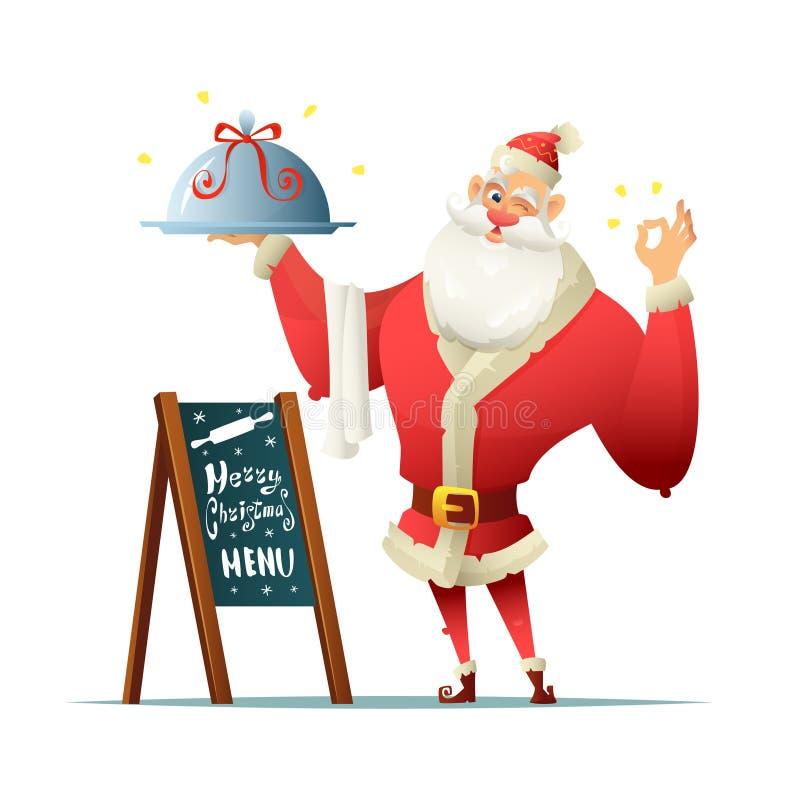 De kerstman houdt een dienblad in zijn hand en maakt het heerlijke gebaar Dichtbij de raad met een menu van inschrijvingskerstmis stock illustratie