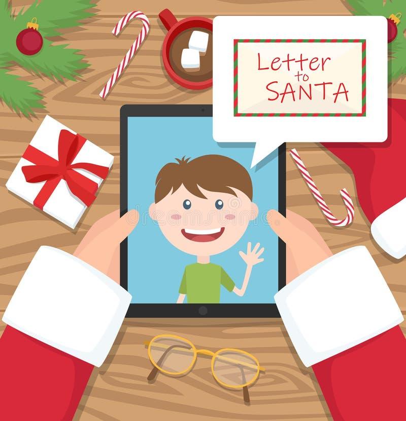 De Kerstman houdt tablet en heeft gesprek met jong jong geitje en een brief voor santa in grappige wolk stock foto