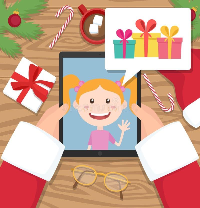De Kerstman houdt tablet en heeft gesprek met jong meisje dat over giften spreekt die hij zou willen om bij Kerstmis krijgen stock fotografie