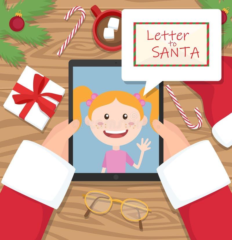 De Kerstman houdt tablet en heeft gesprek met jong meisje en een brief voor santa in grappige wolk royalty-vrije stock fotografie