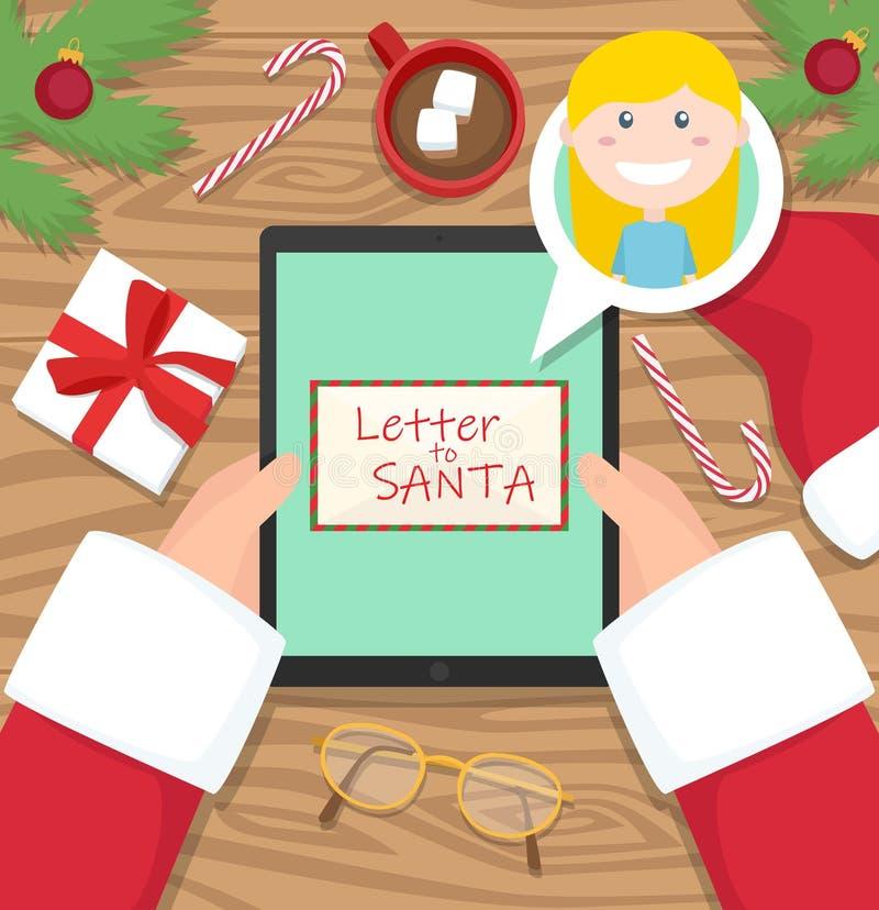 De Kerstman houdt tablet met brief van jong meisje royalty-vrije stock fotografie