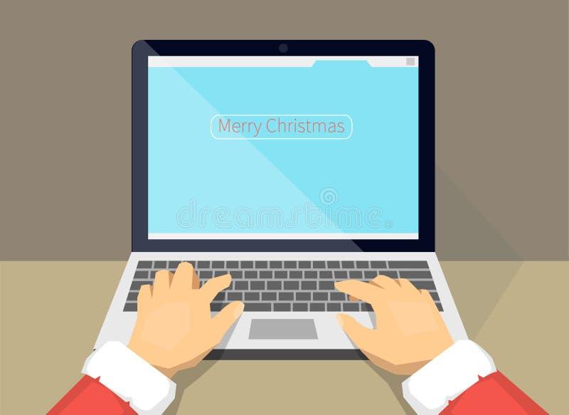 De kerstman kiest giften op Internet royalty-vrije illustratie