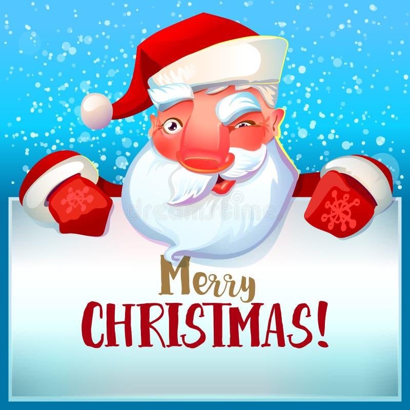 De kerstman knipoogt en Vrolijke Kerstmis stock illustratie