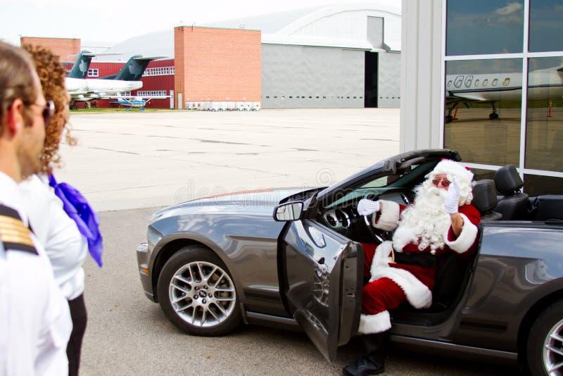 De kerstman komt aan royalty-vrije stock afbeelding