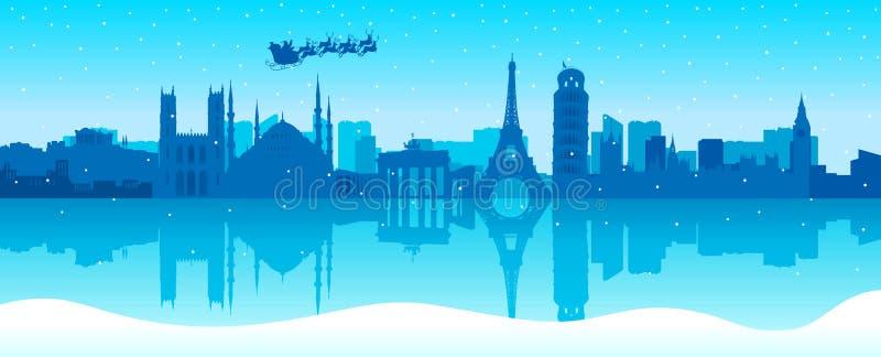 De kerstman komt aan Stad stock illustratie