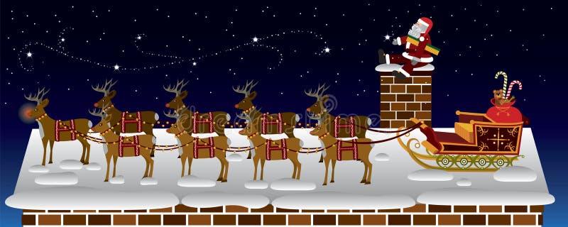 De Kerstman komt aan stad vector illustratie