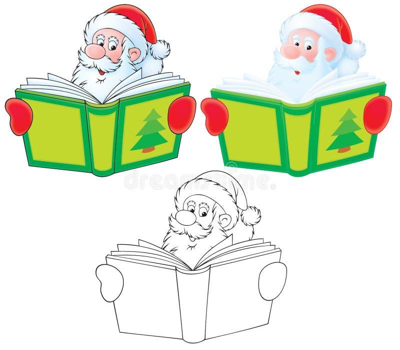 De Kerstman leest een boek stock illustratie
