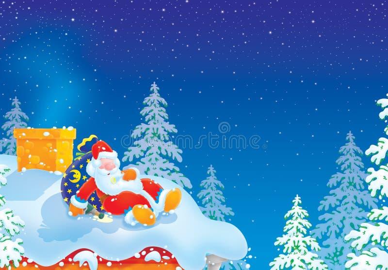 De Kerstman is lichtjes gedronken stock illustratie
