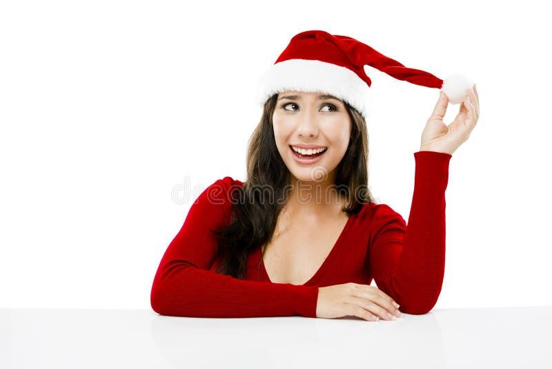 De kerstman maakt een presentatie royalty-vrije stock afbeelding