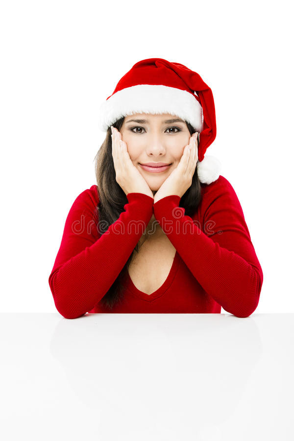 De kerstman maakt een presentatie royalty-vrije stock fotografie