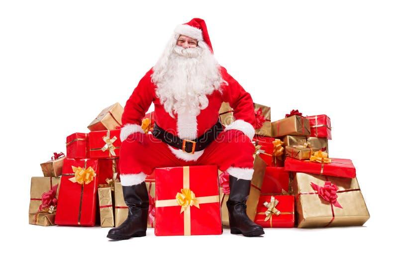 De Kerstman met de Giften van Kerstmis stock foto