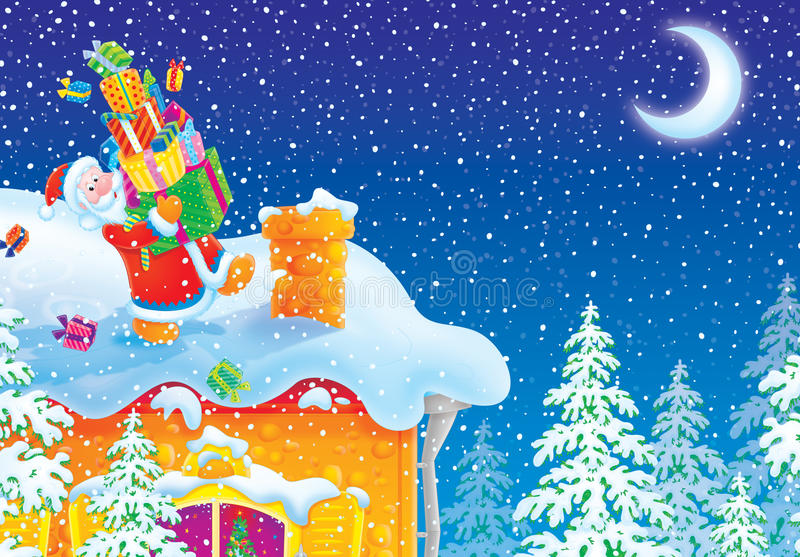 De Kerstman met de giften van Kerstmis gaat naar schoorsteen o vector illustratie