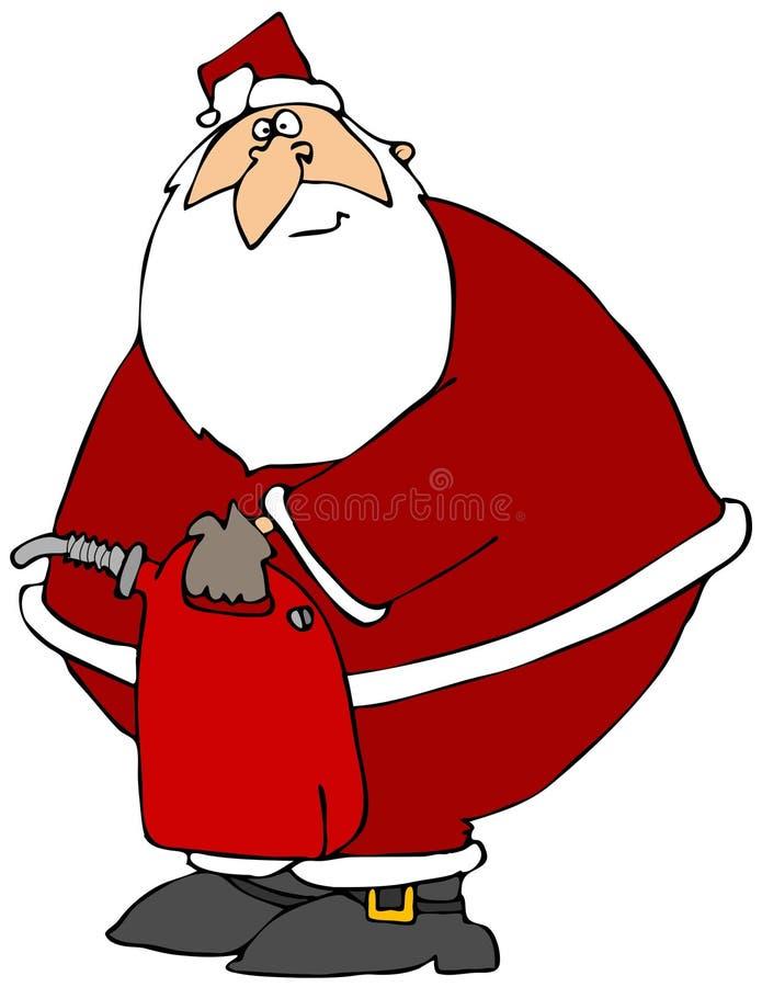 De kerstman met een Gas kan royalty-vrije illustratie