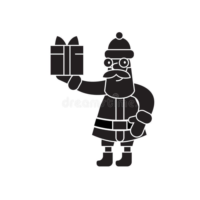 De Kerstman met een pictogram van het gift zwart vectorconcept De Kerstman met een gift vlakke illustratie, teken royalty-vrije illustratie