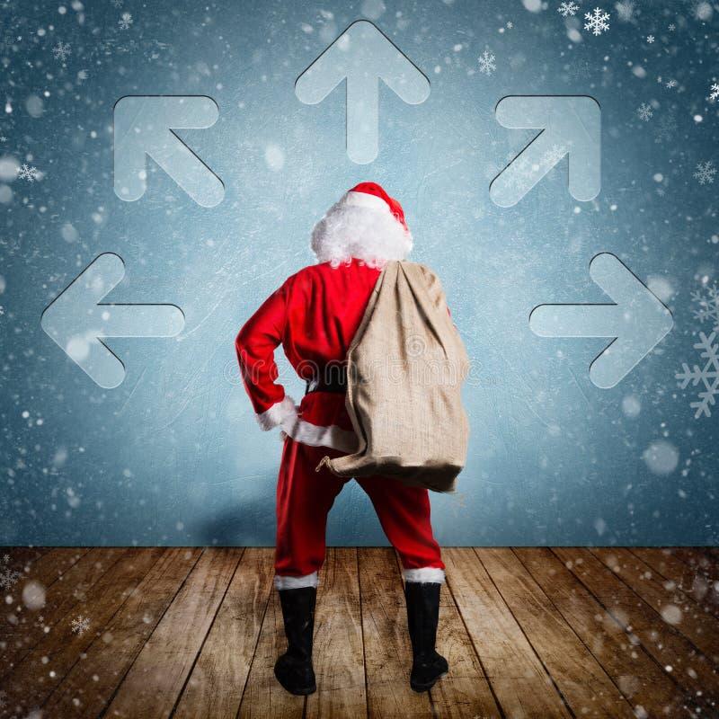 De Kerstman met een Zak van stelt voor stock fotografie
