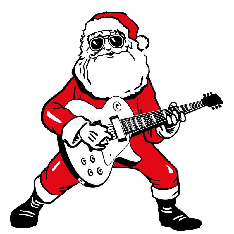 De Kerstman met gitaar stock illustratie