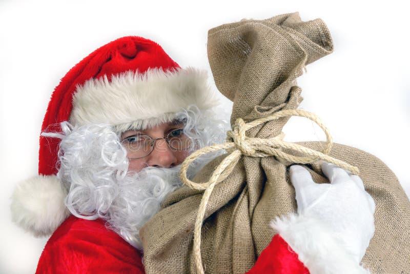 De Kerstman met grote zak stock afbeelding
