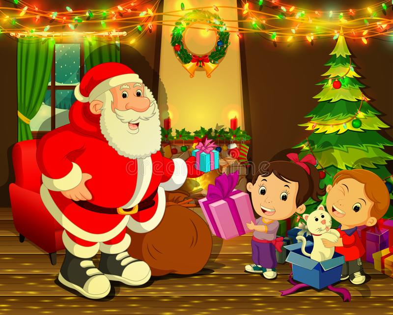 De Kerstman met Kerstmisboom en leuk jong geitje vector illustratie
