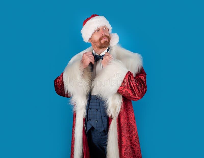 De Kerstman met Kerstmiskostuum Uitdrukkingengezicht Grappige Kerstmismens Maniersanta De vooravond van Kerstmis Gelukkig Nieuwja stock afbeeldingen