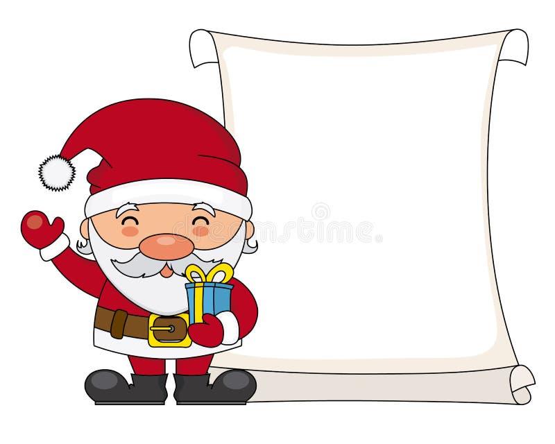 De Kerstman met perkament royalty-vrije illustratie