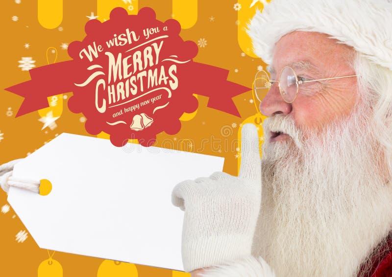 De Kerstman met vinger op lip tegen vrolijke Kerstmisgroeten stock foto