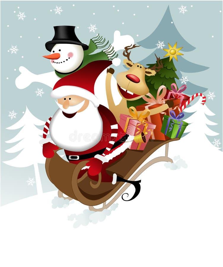 De Kerstman met vrienden royalty-vrije illustratie