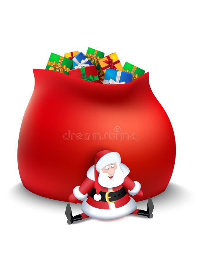 De Kerstman met zak van giften royalty-vrije illustratie