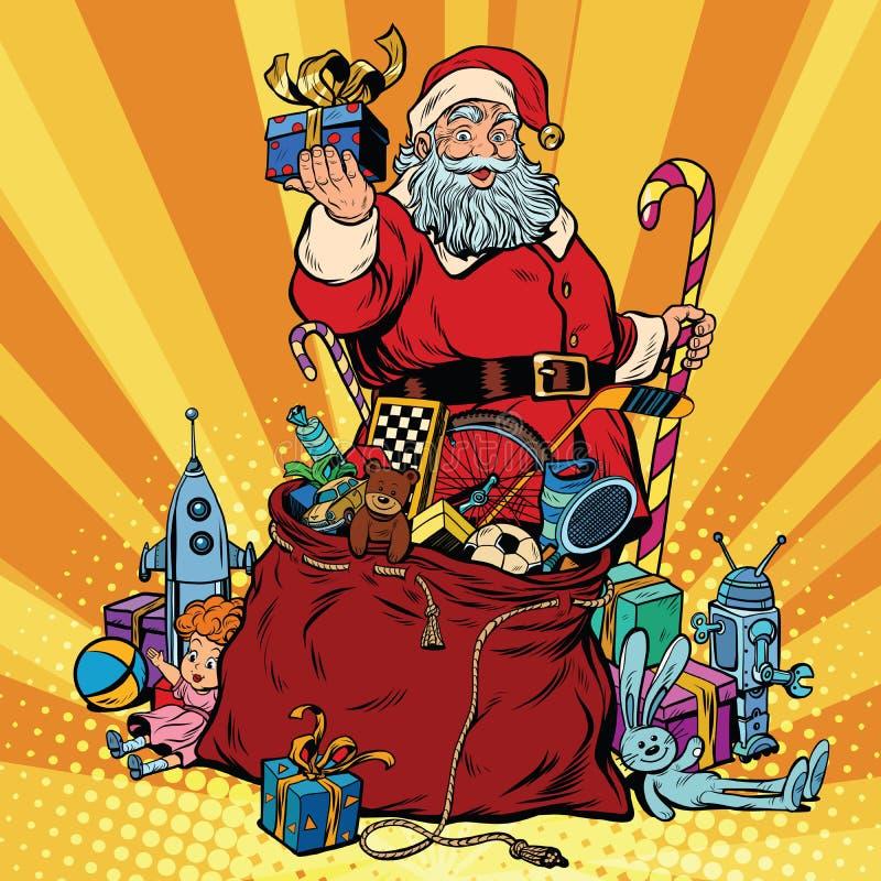De Kerstman met zak van giften Kerstmis en Nieuwjaar royalty-vrije illustratie
