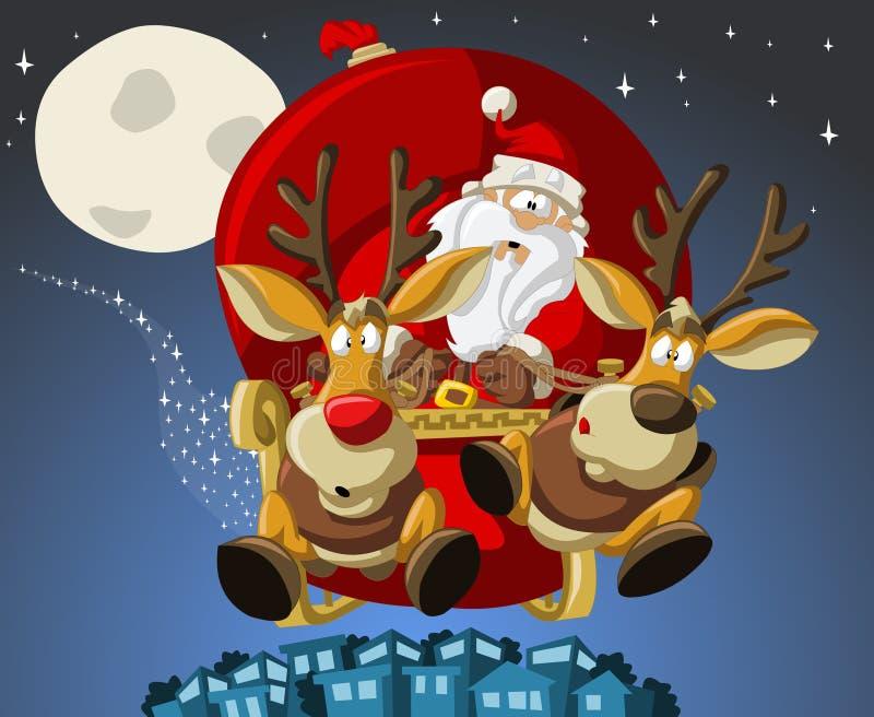 De Kerstman op de tijd van Kerstmis stock illustratie
