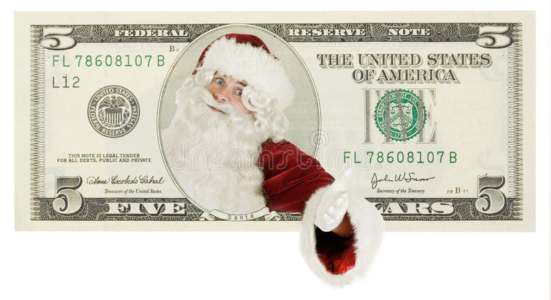 De Kerstman op dollarbankbiljet stock fotografie
