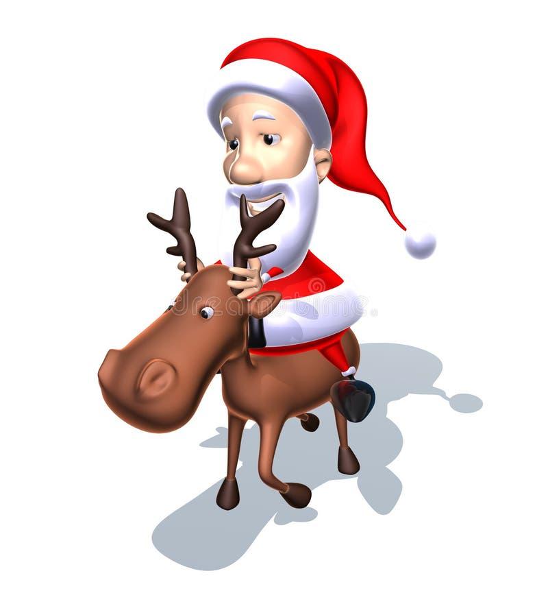 De Kerstman op een rendier royalty-vrije illustratie
