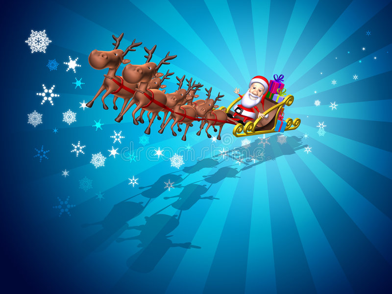 De Kerstman op een slee royalty-vrije illustratie