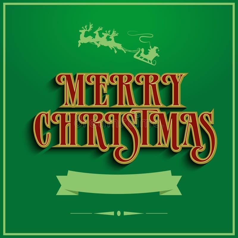 De Kerstman op een slee Het van letters voorzien ontwerp stock illustratie