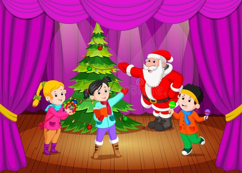 De Kerstman op het stadium met jonge geitjes het zingen stock illustratie