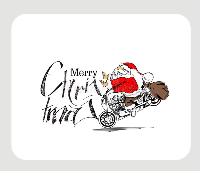 De Kerstman op motorfiets Vrolijke Kerstmis! Kerstmis Backgroun vector illustratie