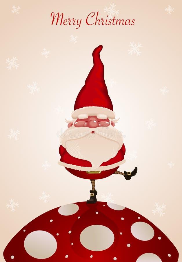 De Kerstman op paddestoel vector illustratie