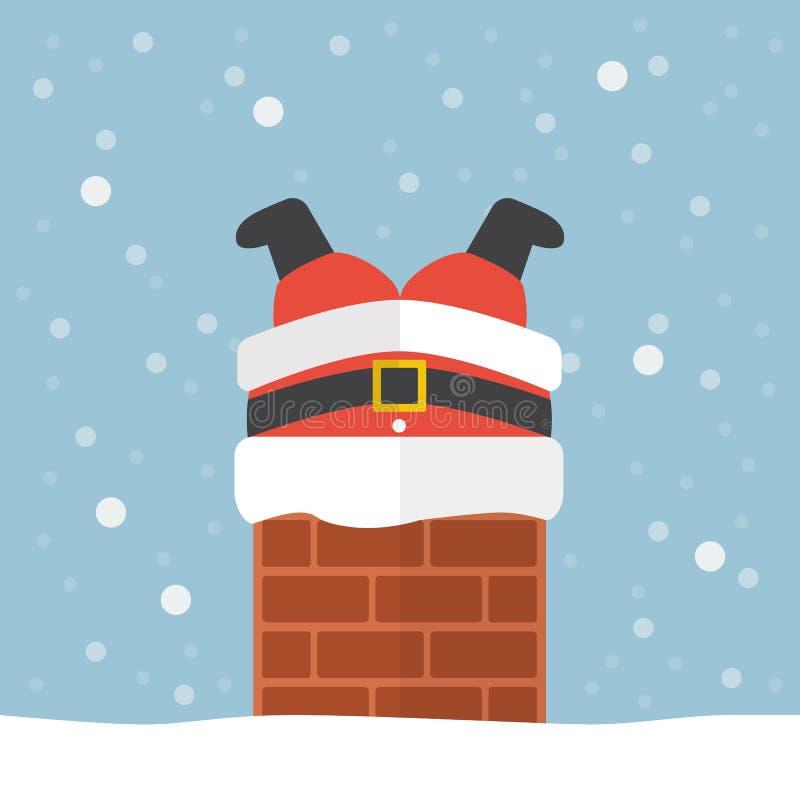 De Kerstman plakte in de schoorsteen royalty-vrije illustratie