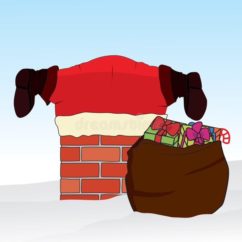 De Kerstman plakte in de schoorsteen De achtergrond van Kerstmis Vector royalty-vrije illustratie